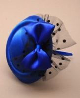 Royal blue pillbox fascinator aliceband with bow (Code 1805)